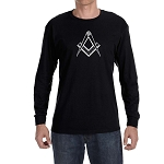 Clean Square & Compass Masonic Men's Crew Neck Long Sleeve T-Shirt - [LongSleeve]