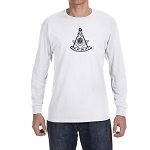 Past Master with Square & Protractor Masonic Men's Crew Neck Long Sleeve T-Shirt - [LongSleeve]
