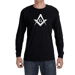 Simple Square & Compass with G Masonic Men's Crew Neck Long Sleeve T-Shirt - [LongSleeve]