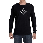 Star Square & Compass Masonic Men's Crew Neck Long Sleeve T-Shirt