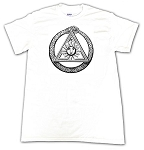 Ouroboros with All Seeing Eye Masonic Men's Crewneck T-Shirt - [White]