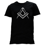 Clean Square & Compass Masonic Men's Crewneck T-Shirt - [Black]