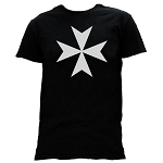 Maltese Cross Masonic Men's Crewneck T-Shirt - [Black]