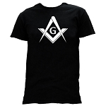 Simple Square & Compass with G Masonic Men's Crewneck T-Shirt - [Black]