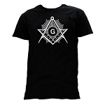 Shining Square & Compass Masonic Men's Crewneck T-Shirt - [Black]