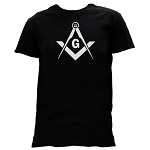 All Seeing Eye Square & Compass Masonic Men's Crewneck T-Shirt - [Black]