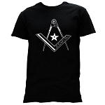 Star Square & Compass Masonic Men's Crewneck T-Shirt - [Black]