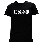 United States Air Force Square & Compass Masonic Men's Crewneck T-Shirt - [Black]