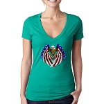 Patriotic Flag Eagle Wings Holding Square & Compass  Masonic Women's V-Neck T-Shirt