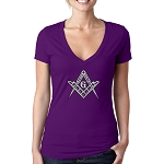All Seeing Eye Gold & Blue Triangle Masonic Women's V-Neck T-Shirt