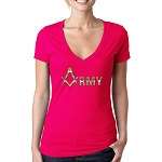 Gold Army Square & Compass Masonic Women's V-Neck T-Shirt