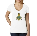 Gold & Blue Square & Compass Masonic Women's V-Neck T-Shirt
