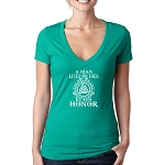 A Man Lives or Dies By His Honor Masonic Women's V-Neck T-Shirt