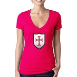Crusader Shield Masonic Women's V-Neck T-Shirt