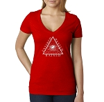 Entered Passed Raised All Seeing Eye Triangle Masonic Women's V-Neck T-Shirt