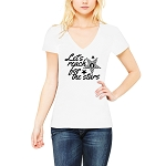 Let's Reach for the Stars Order of the Eastern Star Masonic Women's V-Neck T-Shirt