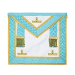 Installed Master with Gold Accents Masonic Apron - [Light Blue & White]