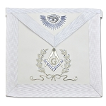 Master Mason with Silver Bullion Masonic Apron - [White]