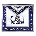 Master Mason with Embroidered Border Masonic Apron - [Blue & White]