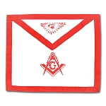 Master Mason Cloth Duck Cotton Masonic Apron - [Red & White]