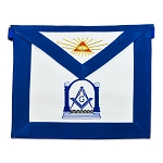 Master Mason Square & Compass with Columns Masonic Apron - [Blue & White]