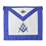 Silver Shining Square & Compass All Seeing Eye Master Mason Masonic Apron - [Blue & White]