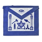 Master Mason Working Tools Masonic Apron - [Blue & White]