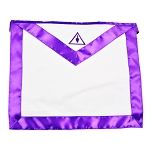 Cryptic Council with Purple Satin Masonic Apron - [Purple & White]