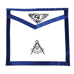 Past Master Cloth Duck Cotton Masonic Apron - [Blue & White]