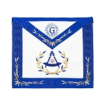 Wreathed Past Master Embroidered Border Masonic Apron - [Blue & White]