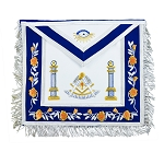 Past Master with Pillars Masonic Apron - [Blue & White]