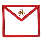 High Priest Cloth Duck Cotton Royal Arch Masonic Apron - [Red & White]