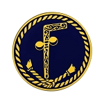 Tubal Cain Round Masonic Auto Emblem - [Black & Gold][3'' Diameter]