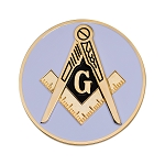 Square & Compass Round Masonic Auto Emblem - [White & Gold][3'' Diameter]