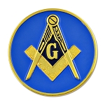 Square & Compass Round Masonic Auto Emblem - [Blue & Gold][3'' Diameter]