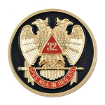 32nd Degree Scottish Rite Round Masonic Auto Emblem - [Black & Red][3
