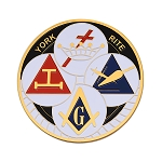 York Rite Round Masonic Auto Emblem - [White & Black][3'' Diameter]
