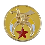 Shriner Round Masonic Auto Emblem - [Yellow & Gold][3