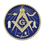 Working Tools Round Masonic Auto Emblem - [Blue & Gold][3'' Diameter]