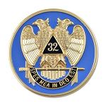 32nd Degree Scottish Rite Round Masonic Auto Emblem - [Blue & Gold][3'' Diameter]