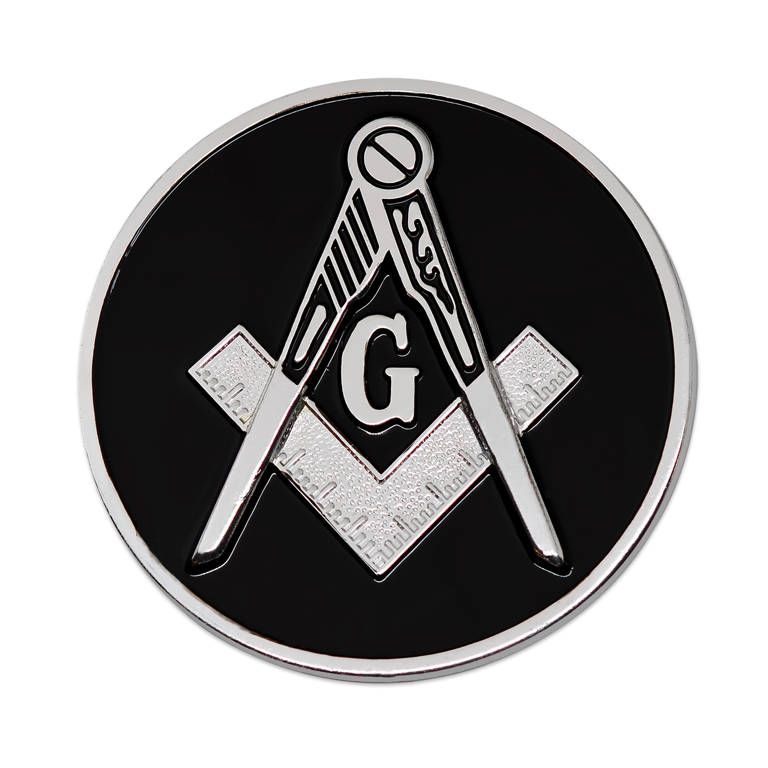 3 Diameter The Masonic Exchange TME-EMB-00019 Square /& Compass Round Black /& Silver Masonic Auto Emblem