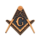 Square & Compass Masonic Auto Emblem - [Copper & Blue][3