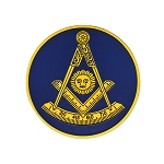Past Master with Square & Protractor Round Masonic Auto Emblem - [Blue & Gold][3'' Diameter]