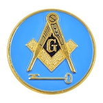 International Freemason Square & Compass with Key Round Masonic Auto Emblem - [Blue & Gold][3'' Diameter]