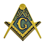 Square & Compass Masonic Auto Emblem - [Gold & Blue][2 3/8'' Tall]