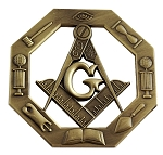 Working Tools Antique Masonic Auto Emblem - [Brass][3'' Tall]