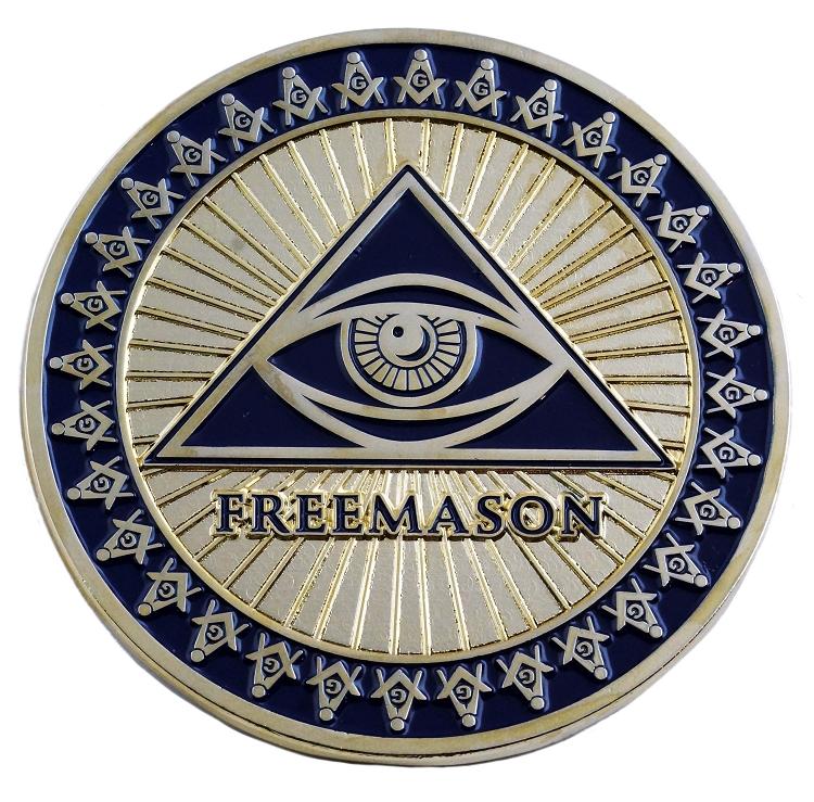 Square /& Compass Round Gold /& Silver Masonic Auto Emblem Combo Pack 2 Diameter