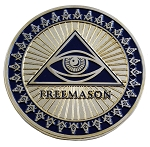 All Seeing Eye Round Masonic Auto Emblem - [Blue & Gold][3'' Diameter]