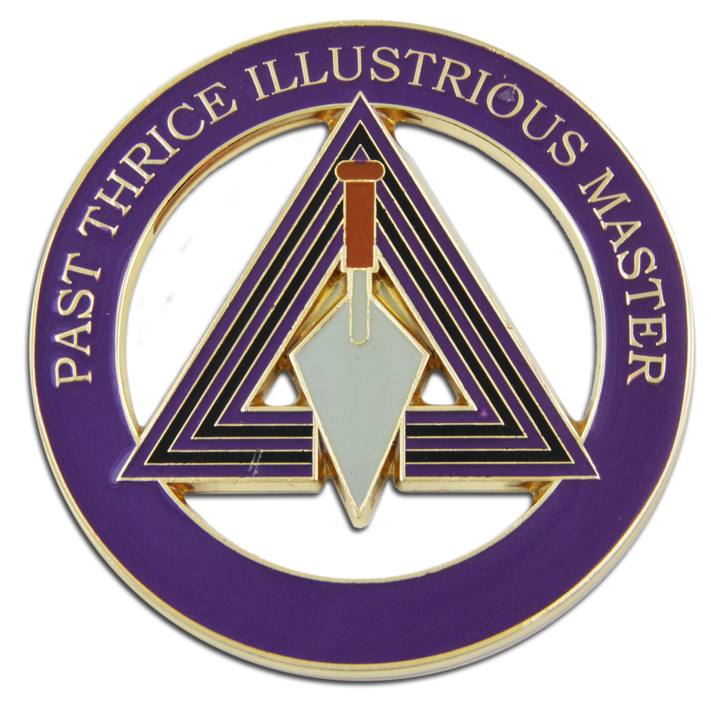 "Masonic 3/"" Car Emblem York Rites Past Illustrious Master Cryptic Masons NEW!"