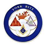 York Rite Royal Arch Templar Cryptic Council Round Masonic Auto Emblem - [Blue & White][3'' Diameter]